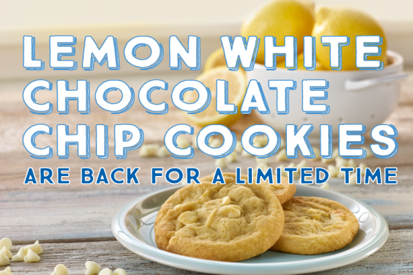 The Lemon White Chocolate Chip Cookie Returns to Insomnia Cookies
